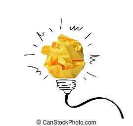 begrepp, noteringen, papper, idé