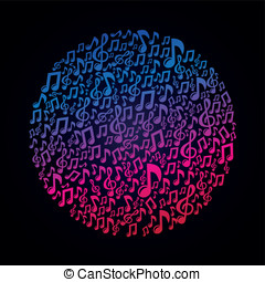 begrepp, noteringen, -, vektor, musik, musikalisk