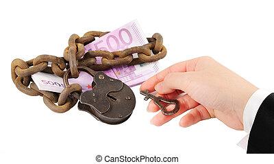 begrepp, nyckel, pengar, -, isolerat, hand, försöka, låsa...