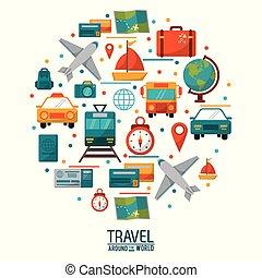 begrepp, omkring, affisch, resa, design, värld