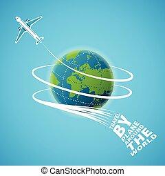begrepp, omkring, resa, luft, vektor, värld