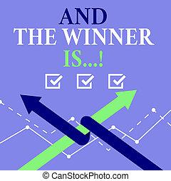 begrepp, ord, affär, kungör, text, vinnare, konkurrens, skrift, plats, race., eller, första