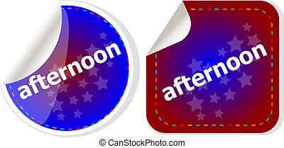 begrepp, ord, affär, sätta, knapp, eftermiddag, klistermärken, ikon