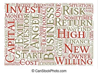 begrepp, ord, affär, text, bakgrund, änglar, investering, moln