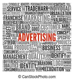 begrepp, ord, annonsering, moln, etikett