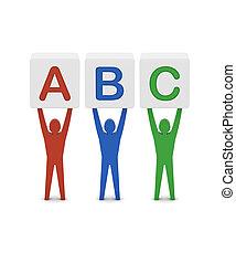 begrepp, ord, illustration., abc., män, holdingen, 3