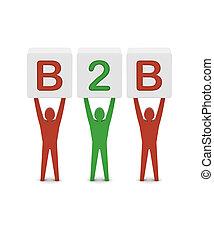 begrepp, ord, illustration., män, b2b., holdingen, 3
