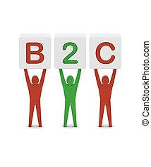 begrepp, ord, illustration., män, holdingen, b2c., 3