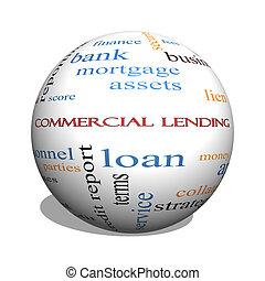 begrepp, ord, lånande, kommersiell, glob, moln, 3