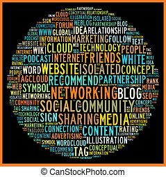 begrepp, ord, media, etikett, social, moln