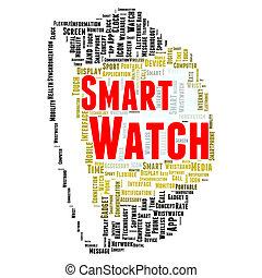 begrepp, ord, smartwatch, moln