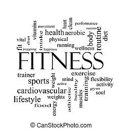 begrepp, ord, svart, fitness, vita sky