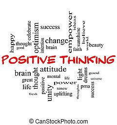 begrepp, ord, tänkande, positiv, lock, moln, röd