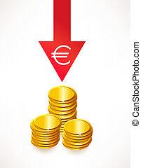 begrepp, pengar., euro, nedvärdering