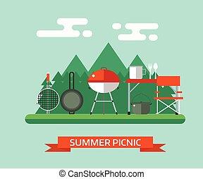 begrepp, picknicken, familj, vektor, barbecue, eller, landskap