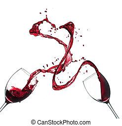 begrepp, plaska, glasögon, isolerat, bakgrund, vit röd, vin