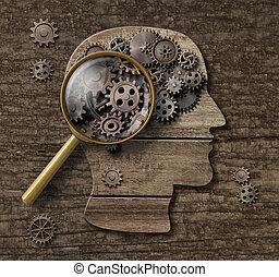begrepp, psykologi, hjärna, 3, forska, eller, illustration