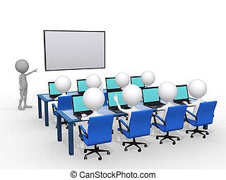 begrepp, render, 3, illustration, hand, person, nära, bord,...
