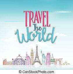 begrepp, resa, bakgrund, värld