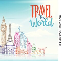 begrepp, resa, berömd, design, bakgrund, värld, teckna fodra, milstolpar