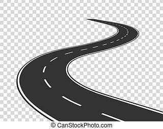 begrepp, road., asfalt, isolerat, highway., slingrande, resa, trafik, väg, horisont, perspective., böjd förfaringssätt, tom