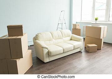 begrepp, rum, -, mellan, koppla av, belopp, rutor, hem, soffa, färsk, vit, gripande, tom, möblemang