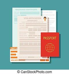 begrepp, sätta, ansökan, vektor, dokument, visum