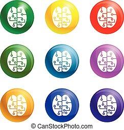 begrepp, sätta, ikonen, hjärna, vektor, smart