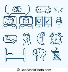 begrepp, sätta, ikonen, isolerat, vektor, sömn