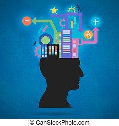 begrepp, silhuett, hjärna, folk, bearbeta, kommunikation, thinking., intelligence., skapande, utanför, människa huvud, world., pulses.