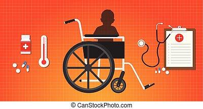 begrepp, sitta, hjärn-, rullstol, slaganfall, baby, unge