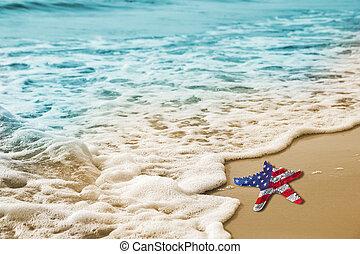 begrepp, sjöstjärna, usa, arbete, flagga, strand, dag, sandig
