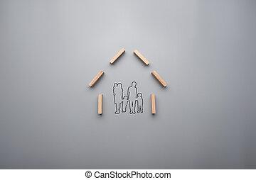 begrepp, skissera, familj, ung, hem, barn