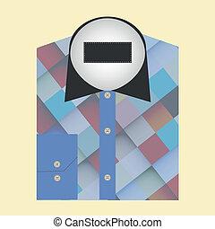 begrepp, skjorta, färg, hoplagd, design, emblem