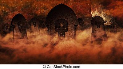begrepp, skyn, brännande, halloween, kyrkogård, illustration, bakgrund., fyllda, gravstenar, stjärnor, natt himmel, skallar, 3