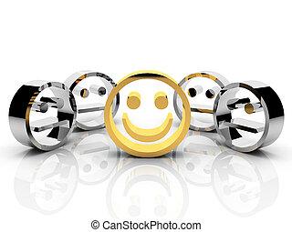 begrepp, smiley, guld, ledarskap