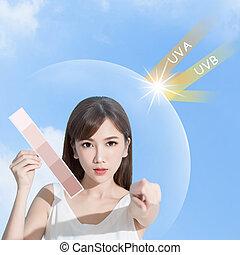 begrepp, sol, kvinna, skydd