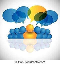 begrepp, staff., kontor, &, eller, chef, ledarskap, ledare