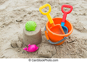 begrepp, strand, sommartid, toys