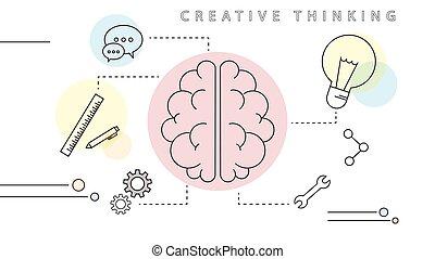 begrepp, tänkande, nymodig, skapande, vektor, design, klen förfaringssätt