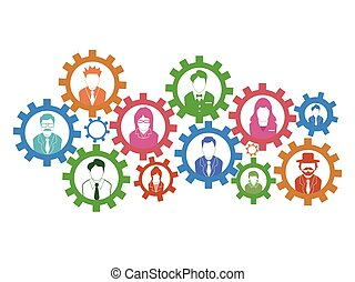 begrepp, teamwork, utrustar, bakgrund