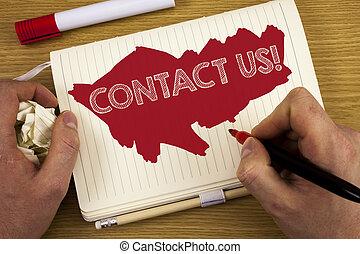 begrepp, text, markör, skrift, din, göra, realitet, skriftligt, bok, holdingen, call., pencil., affär, nå, motivational, anteckningsbok, bakgrund, drömmar, man, ord, trä, oss, vilja, kontakta
