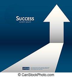 begrepp, tillväxt, resning, investering, finans, uppe., stil, profit, roi., ökning, lägenhet, riktning, retur, success., affär, kartlägga, baner, illustration., måltavla, sträckande, vektor, pil, vision