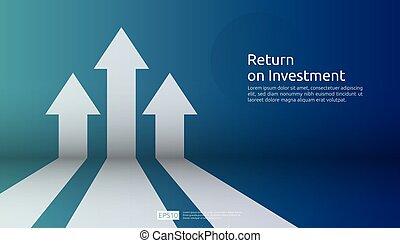 begrepp, tillväxt, resning, investering, finans, uppe., stil, profit., roi., ökning, lägenhet, riktning, retur, success., affär, kartlägga, baner, illustration., måltavla, sträckande, vektor, pil, vision