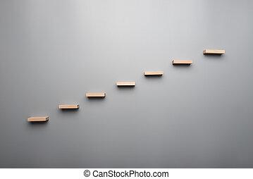 begrepp, trä, graf, grå, steg, bakgrund, eller, vision