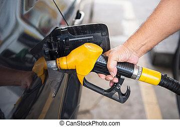 begrepp, transport, bensin, bil, -, pumpa, drivmedel, stati...