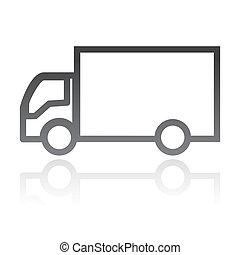 begrepp, transport, enkel, vektor, truck., ikon