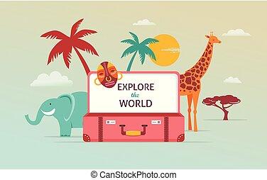 begrepp, turism, resa, illustration, vektor, design, suitcase., öppna