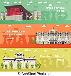 begrepp, turist, banners., madrid, resa, illustration, berömd, vektor, gränsmärke, spanien, anläggningar.