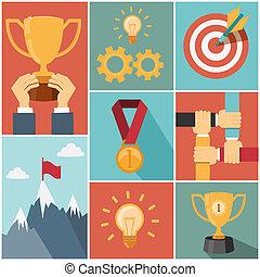 begrepp, uppnå, framgång, mål